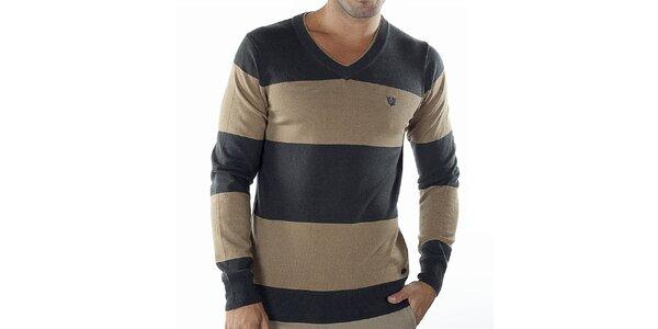 Pánsky béžovo-šedý pruhovaný sveter Bendorff
