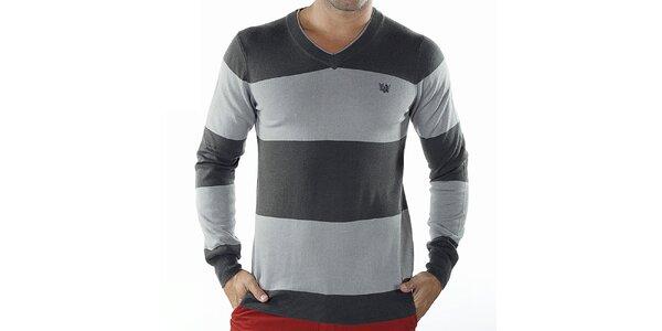 Pánsky šedo pruhovaný sveter Bendorff