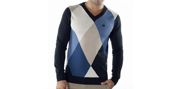 Pánsky modro kockovaný sveter s čiernymi rukávmi Bendorff