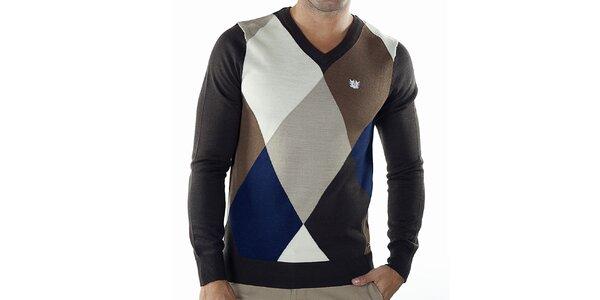 Pánsky kockovaný sveter s čiernymi rukávmi a chrbátom Bendorff
