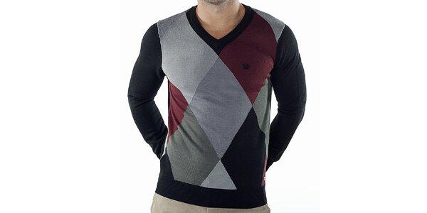 Pánsky kockovaný sveter s čiernymi rukávmi Bendorff