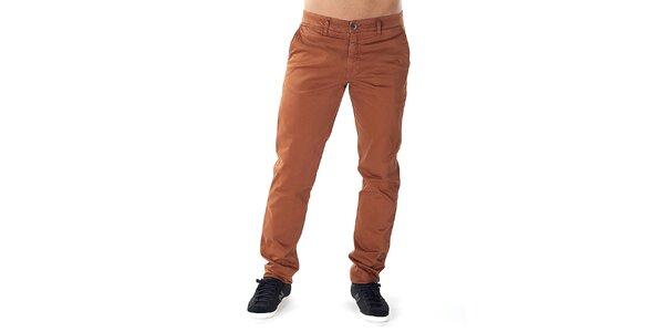 Pánske tehlovo oranžové chino nohavice Bendorff