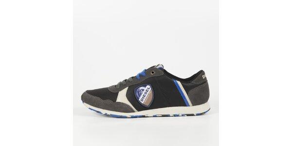 Pánske čierne tenisky s modrými detailmi Diesel