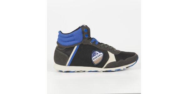 Pánske čierne členkové tenisky s modrými detailmi Diesel