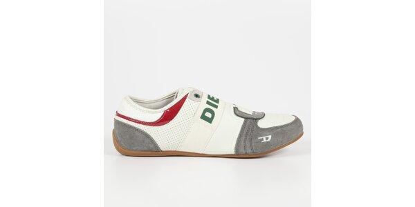 Pánske bielo-šedé tenisky so zeleným logom Diesel