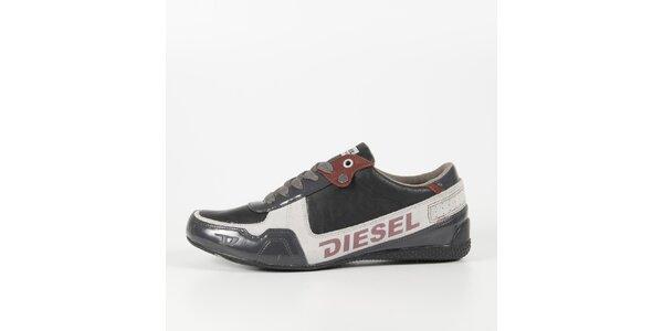 Pánske šedo-biele tenisky s lakovaným detailom Diesel