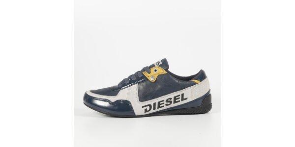 Pánske šedo-modré tenisky s lakovaným detailom Diesel