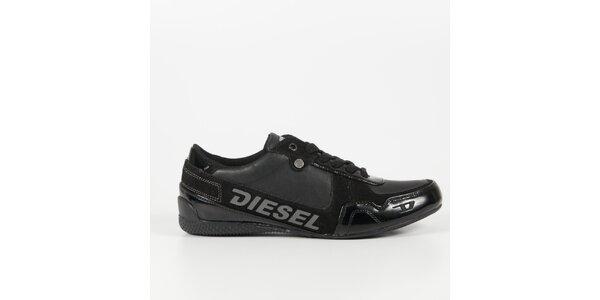 Pánske čierne tenisky s lakovaným detailom Diesel