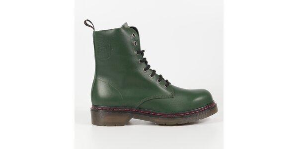 Dámske fľaškovo zelené kožené punkové topánky Diesel