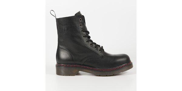Dámske čierne kožené punkové topánky Diesel