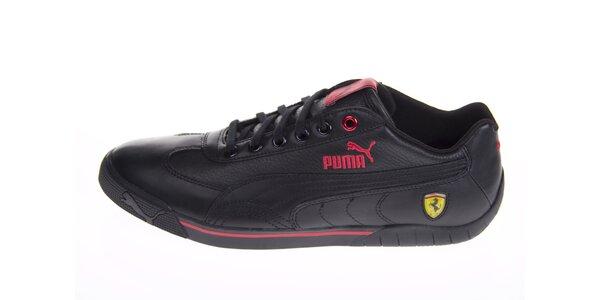 Pánske čierne tenisky Puma Ferrari s červenými detailami