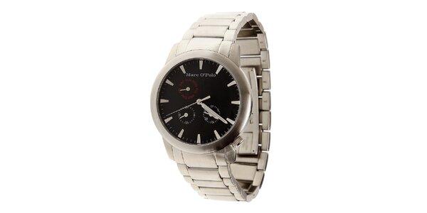 Pánske oceľové hodinky Marc O´Polo s čiernym ciferníkom
