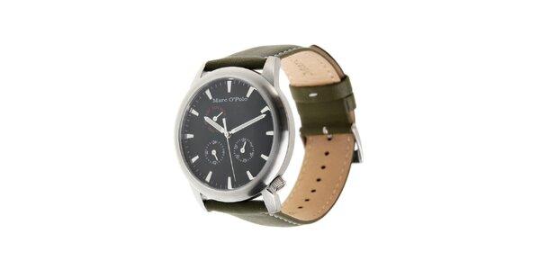 Marc O´Polo hodinky s tmavo zeleným koženým remienkom a čiernym ciferníkom
