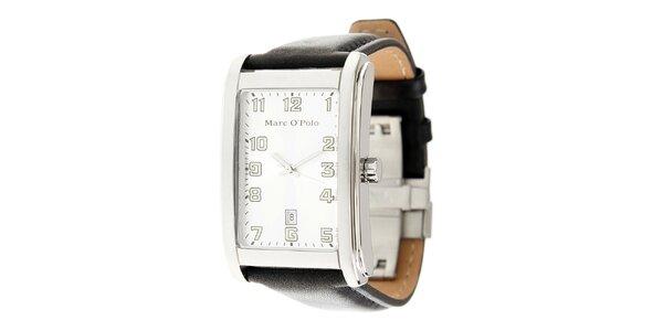 Pánske náramkové hodinky Marc O´Polo s čiernym koženým remienkom