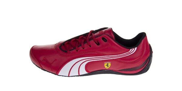 Pánske červené tenisky Puma Ferrari s čiernymi a bielymi detailami