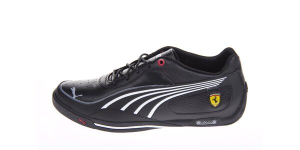 Pánske čierne tenisky Puma Ferrari s bielymi detailami