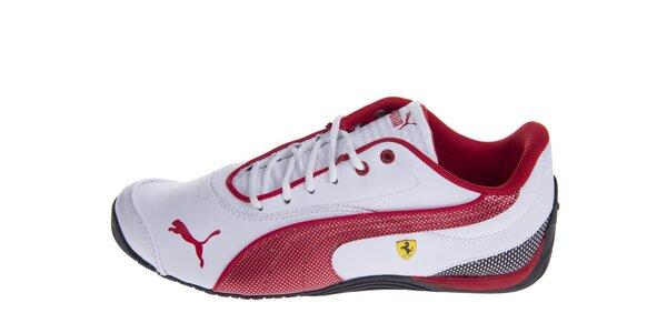 Biele tenisky Puma Ferrari s červenými detailami