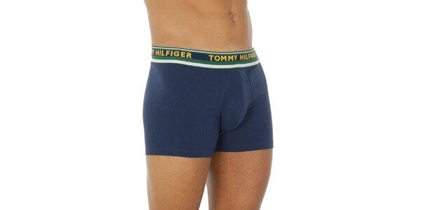 Pánske tmavo modré boxerky so zeleným pásom Tommy Hilfiger