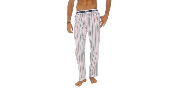Pánske biele pruhované pyžamové nohavice Tommy Hilfiger