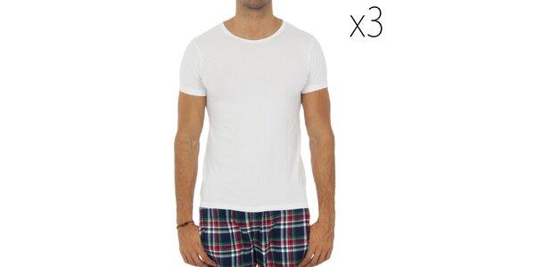 Sada troch pánskych bielych tričiek s krátkym rukávom Tommy Hilfiger