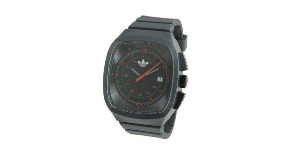 Tmavo šedé silikónové hodinky Adidas s metalickým odleskom