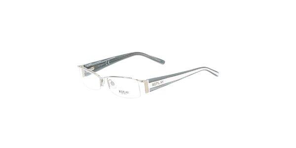 Dámske okuliare so šedými pruhovanými stranicami Replay