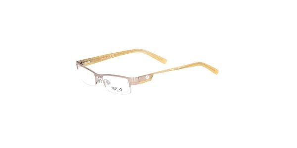 Dámske okrovo-zlaté hranaté okuliare Replay