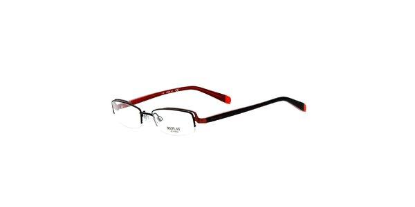 Dámske hranaté okuliare s čierno-červenými stranicami Replay
