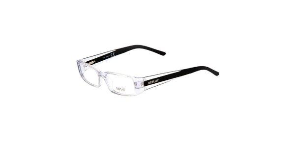 Transparentné okuliare s čiernymi stranicami Replay