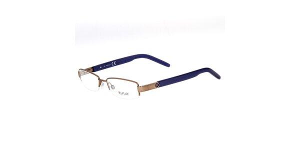 Béžové okuliare s modrými stranicami Replay
