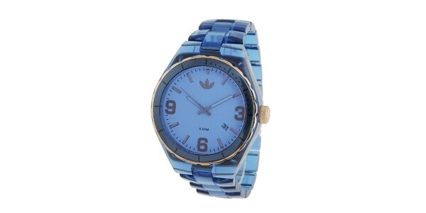 Dámské tmavo modré transparentné hodinky Adidas so zlatými detailami