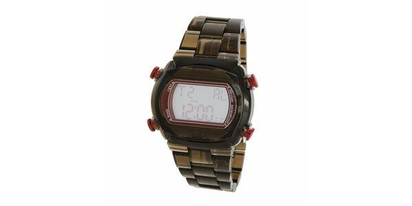 Čierne transparentné digitálne hodinky Adidas s ružovými detailami