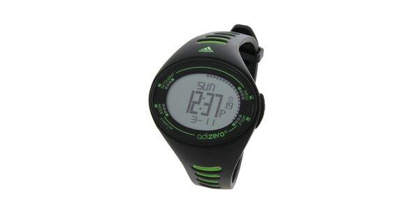 Pánske čierne športové hodinky Adidas so zelenými detailami