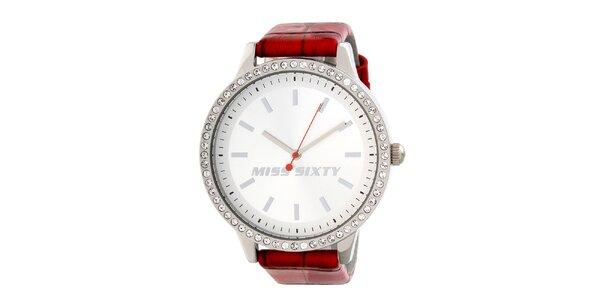 Dámske analogové hodinky s kryštáľmi a červeným remienkom Miss Sixty
