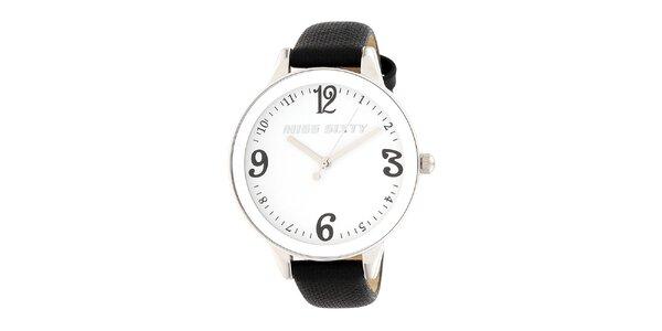 Dámske analogové hodinky s čiernym koženým remienkom Miss Sixty