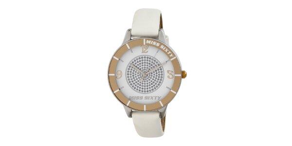 Dámske biele analogové hodinky s kamienkami Miss Sixty