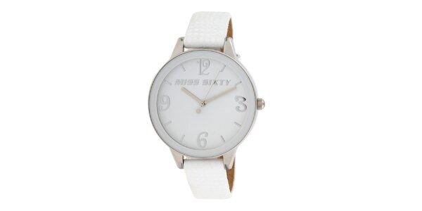 Dámske analogové hodinky s bielym koženým remienkom Miss Sixty