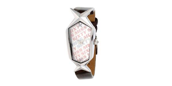 Dámske hnedo-strieborné hodinky s hviezdičkou Miss Sixty