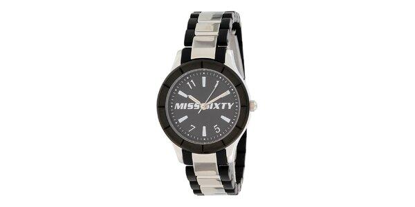 Dámske čierno-strieborné analogové hodinky Miss Sixty