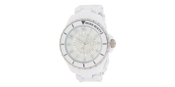 Dámske biele hodinky so striebornými detailmi Miss Sixty