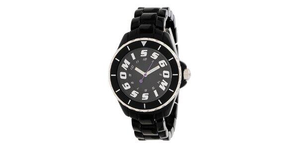 Dámske čierne hodinky s fialovou sekundovkou Miss Sixty