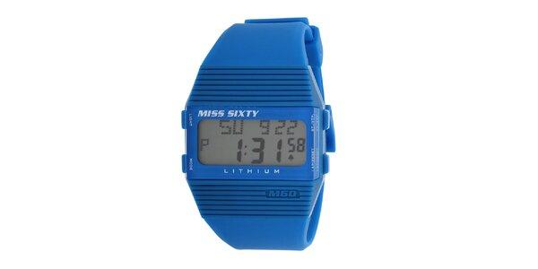 Dámske modré plastové hodinky s bielymi detailmi Miss Sixty