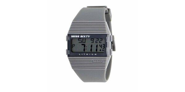 Dámske šedé plastové hodinky s bielymi detailmi Miss Sixty