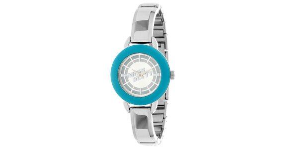 Dámske strieborno-modré hodinky Miss Sixty
