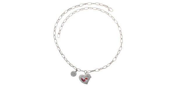 Dámske ružové srdiečkové hodinky Miss Sixty na retiazke