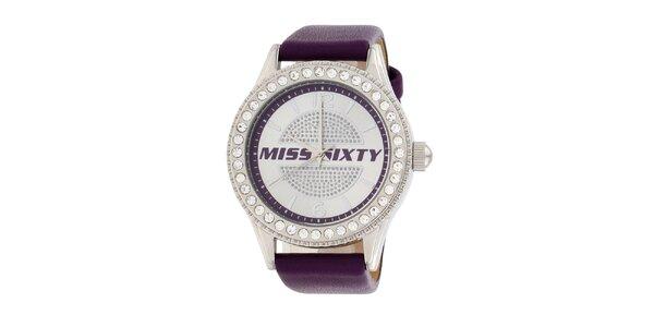 Dámske fialové analogové hodinky Miss Sixty s kamienkami a koženým remienkom