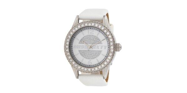 Dámske biele analogové hodinky Miss Sixty s kamienkami a koženým remienkom