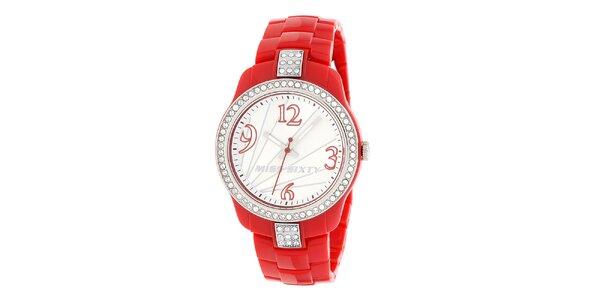 Dámske bielo-červené hodinky Miss Sixty s kamienkami