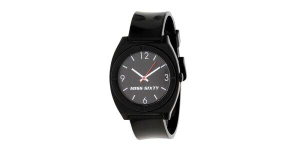 Dámske čierne hodinky Miss Sixty s okrúhlym analogovým ciferníkom