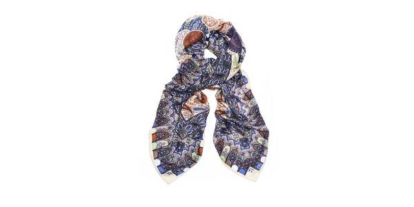 Dámska modrá šatka s orientálnym vzorom Bella Rosa